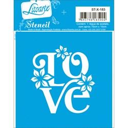 Stencil Litoarte 10x10cm STX-183 LOVE