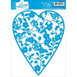 Stencil Litoarte 16,6x21cm STA2-003 Coração Floral