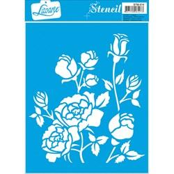 Stencil Litoarte 17x21cm STM-014 Rosas