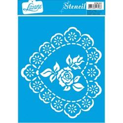 Stencil Litoarte 17x21cm STM-031 Coração e Rosa