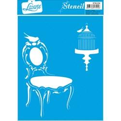 Stencil Litoarte 17x21cm STM-234 Cadeira e Gaiola