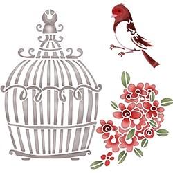 Stencil Litoarte 20x20cm STXX-027 Pássaro, Gaiola e Flores