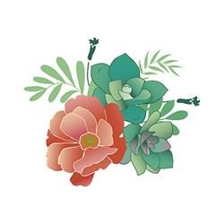 Stencil Litoarte 20x20cm STXX-060 Flores e Suculentas Tropicais