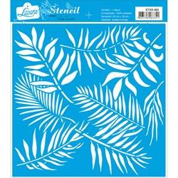 Stencil Litoarte 20x20cm STXX-065 Estampa de Folhas Tropicais