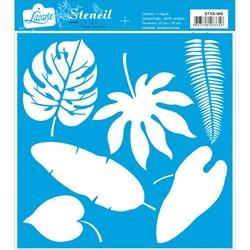 Stencil Litoarte 20x20cm STXX-066 Folhas Tropicais