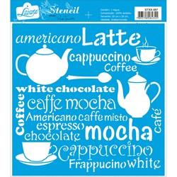 Stencil Litoarte 20x20cm STXX-087 Café, Bule, Xícaras
