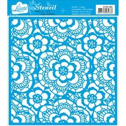 Stencil Litoarte 20x20cm STXX-088 Renda Guipir Floral