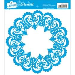Stencil Litoarte 20x20cm STXX-099 Mandala de Corações