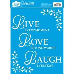 Stencil Litoarte 20x25cm STR-034 LIVE, LOVE, LAUGH