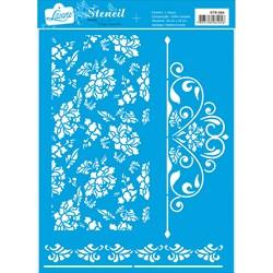 Stencil Litoarte 20x25cm STR-064 Padrão de Flores e Arabesco