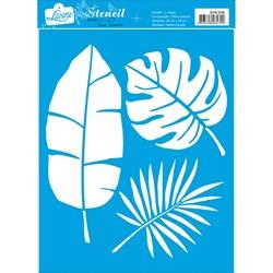 Stencil Litoarte 20x25cm STR-076 Folhas Tropicais
