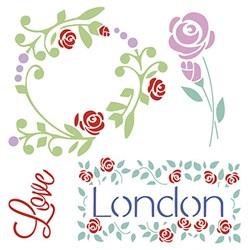 Stencil Litoarte 25x25cm STXXV-030 London Love