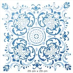 Stencil Litoarte 30x30cm STQG-025 Azulejo de Arabescos