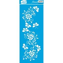 Stencil Litoarte 42x17cm STG-027 Flores e Arabescos