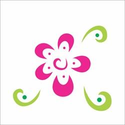 Stencil OPA 10 x 10 Simples 1 Chapa (OPA363) Flor Estilizada III