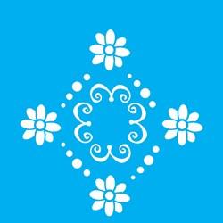 Stencil OPA 10 x 10 Simples 1 Chapa (OPA499) Medalhão Flor