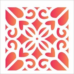 Stencil OPA 10x10 Simples 1 Chapa (OPA1979) Ladrilho Coração