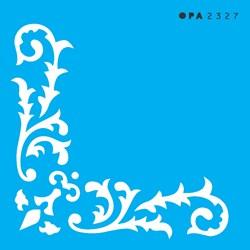 Stencil OPA 10x10 Simples 1 Chapa (OPA2327) Cantoneira Arabesco Folhas