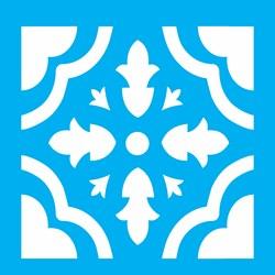 Stencil OPA 14x14 Simples 1 Chapa (OPA1362) Ladrilho Coração