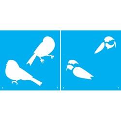 Stencil OPA 14x14cm 2 Chapas (OPA1748) Pássaros
