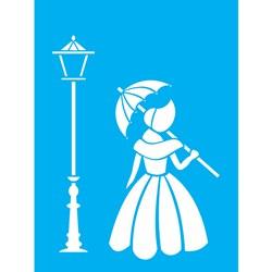 Stencil OPA 15x20 Simples 1 Chapa (OPA1144) Dama de Guarda Chuva