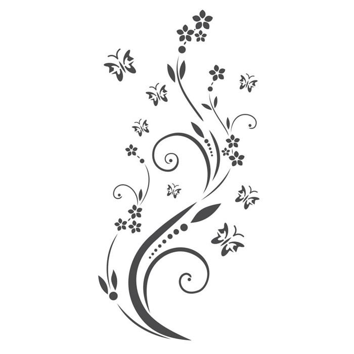 Stencil para Pintura Arte Fácil ST-785 Flores e Borboletas