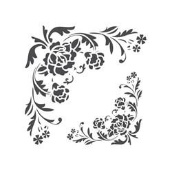 Stencil para Pintura Arte Fácil ST-788 Cantoneira Flores