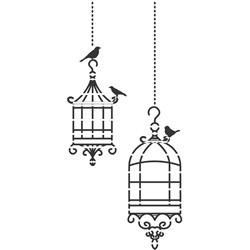Stencil para Pintura Arte Fácil ST-792 Gaiola Pássaros
