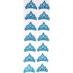 Strass Adesivo Coroa Pequena Turquesa SCP-16 - 16 Coroas