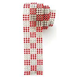 Strass - Tira 3x45cm - ST009 Prata / Xadrez Cristal - Vermelho