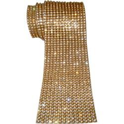 Strass - Tira 5x45cm - ST007 Dourado / Cristal