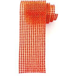 Strass - Tira 5x45cm - ST008 Dourado / Vermelho