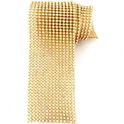 Strass - Tira 5x45cm - ST011 Dourado / Cristal Irizado