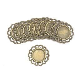 Tag de Metal Redondo 28mm Ouro Velho - com 10 unidades
