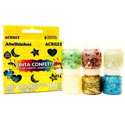 Tinta Confetti 15ml Acrilex com 6 Cores - 02415 unica