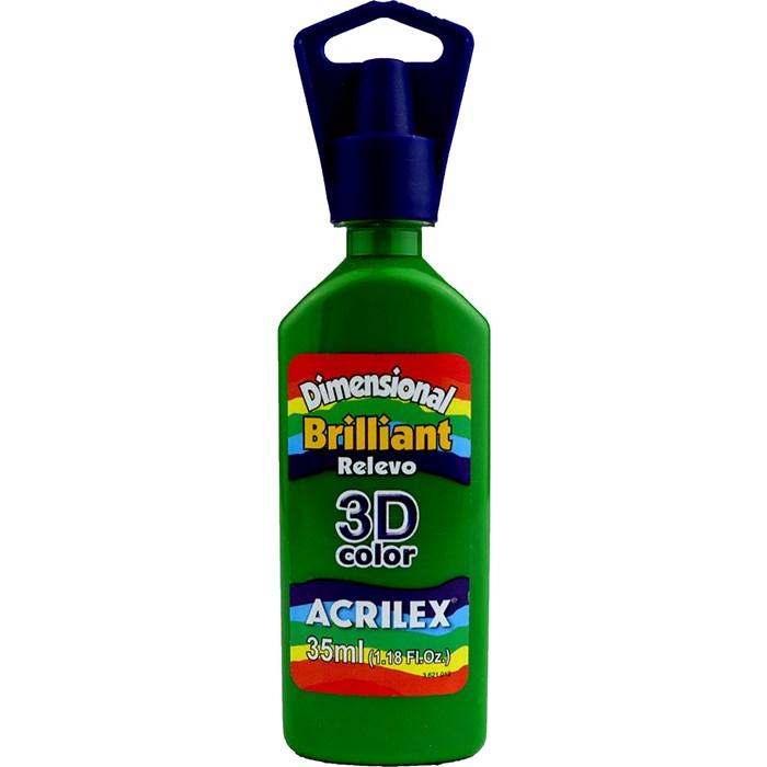 Tinta Dimensional Brilhante Relevo 3D Acrilex 35mL  - 513 Verde Musgo