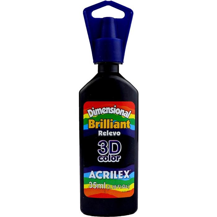 Tinta Dimensional Brilhante Relevo 3D Acrilex 35mL  - 520 Preto