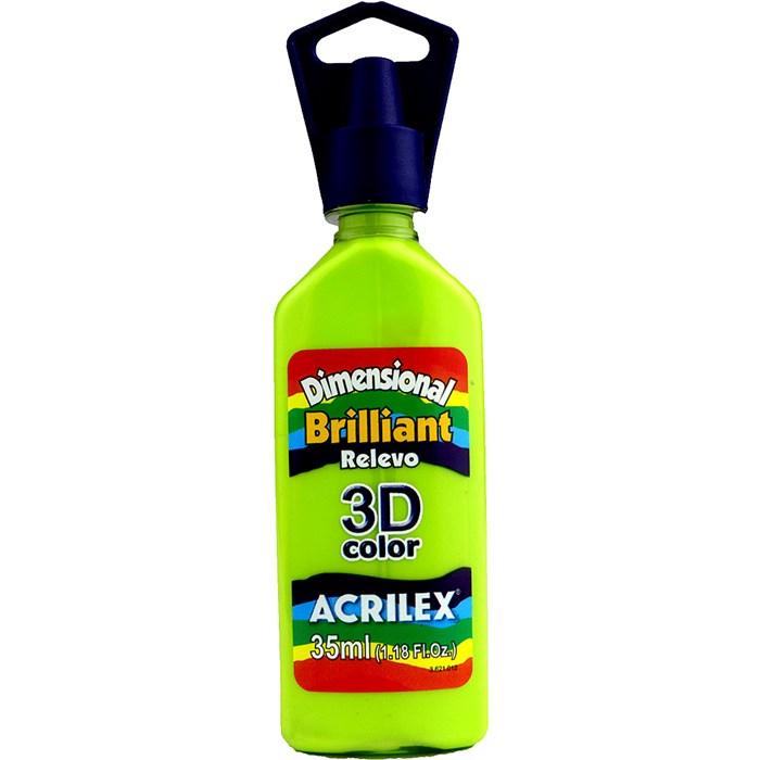 Tinta Dimensional Brilhante Relevo 3D Acrilex 35mL  - 802 Verde Maçã