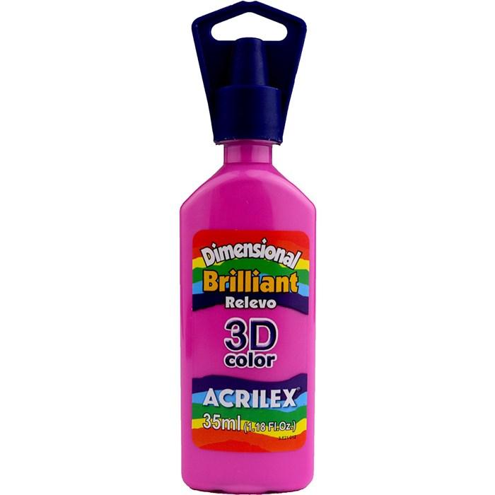 Tinta Dimensional Brilhante Relevo 3D Acrilex 35mL  - 872 Rosa Fuchsia