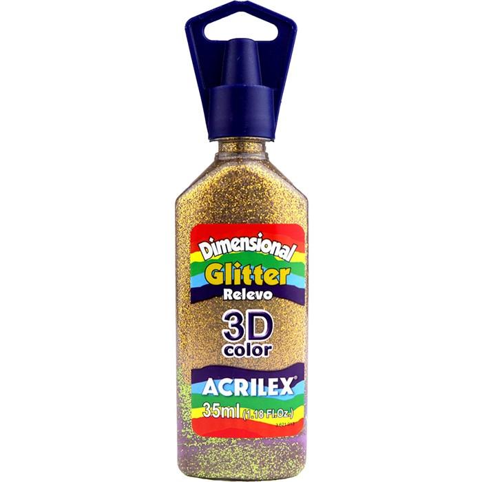 Tinta Dimensional Glitter 3D Acrilex 35mL  - 201 Ouro