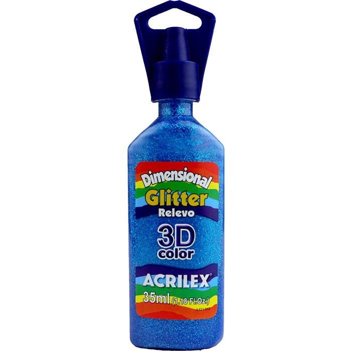 Tinta Dimensional Glitter 3D Acrilex 35mL  - 204 Azul