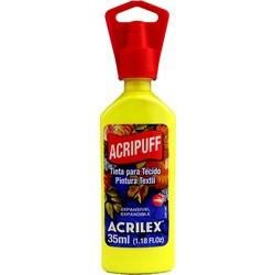 Tinta para Tecido Acripuff Expansão a Calor Acrilex 35mL - 504 Amarelo Limão