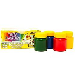 Tinta Plástica Acrilex 15ml cada - caixa com 6 cores 03215