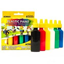 Tinta Plástica Plastic Paint Acrilex 20ml cada - caixa com 6 cores 03206
