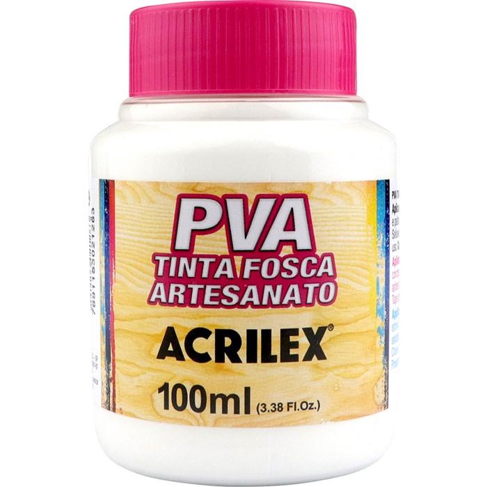 Tinta PVA Fosca para Artesanato Acrilex 100mL - 519 Branco