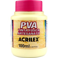 Tinta PVA Fosca para Artesanato Acrilex 100mL - 808 Amarelo Bebê