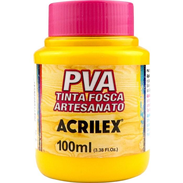 Tinta PVA Fosca para Artesanato Acrilex 100mL Amarelo Gema