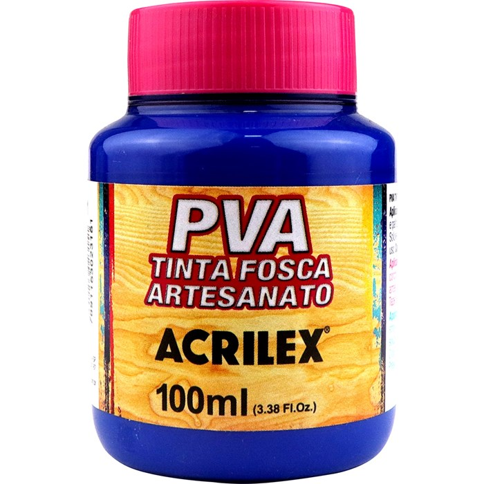 Tinta PVA Fosca para Artesanato Acrilex 100mL Azul Turquesa