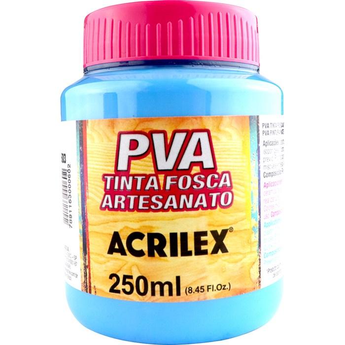 Tinta PVA Fosca para Artesanato Acrilex 250mL Azul Celeste