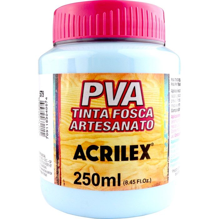 Tinta PVA Fosca para Artesanato Acrilex 250mL Azul Hortênsia